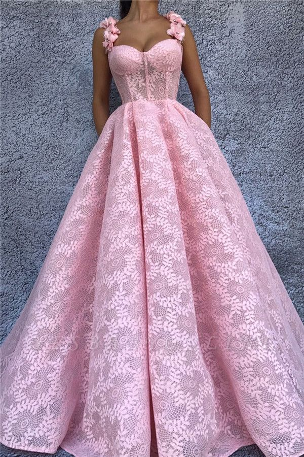 Exquisite Lace Sweetheart Pink Prom Dress | Chic Flower Straps Sleeveless Long Prom Dress