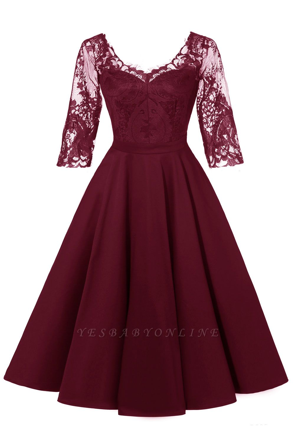 Stunning A-line Retro Scoop Neck V-back Ruffles Burgundy Lace Party Dresses