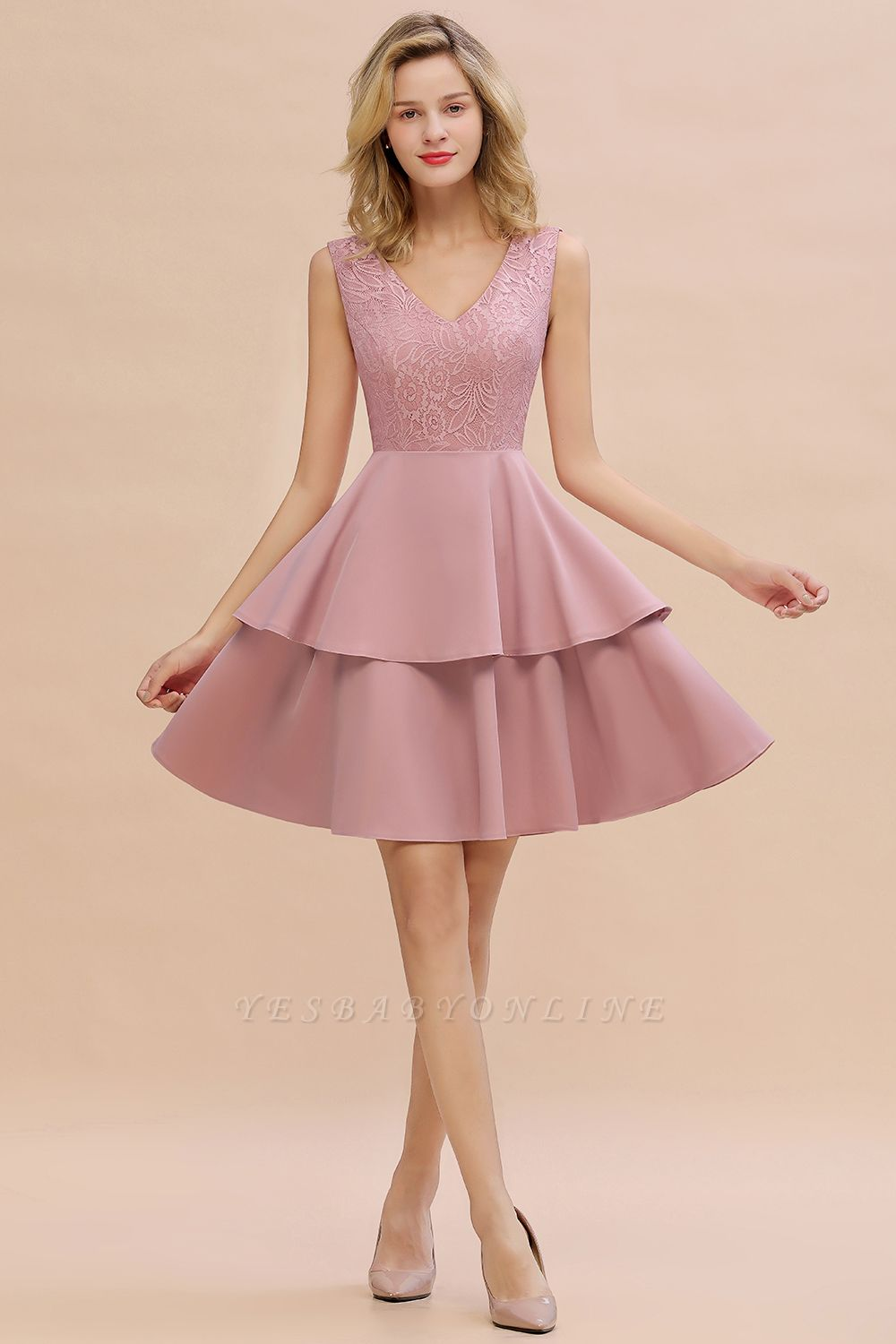 Lovely V-neck V-back Knee Length Ruffle Homecoming Dresses