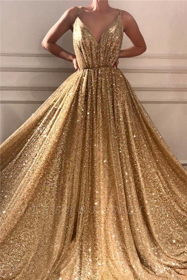 Glamorous Sequins Spaghetti Straps Long Prom Dress | Sparkle V Neck Sleeveless Gold Prom Dress