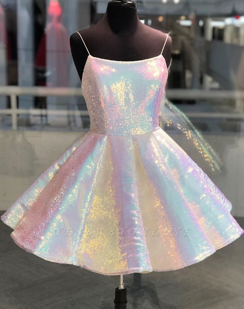 Sparkle Spaghetti Straps Sleeveless Homecoming Dress | Cheap A Line Sequins Short Mini Cocktail Dress BC2659