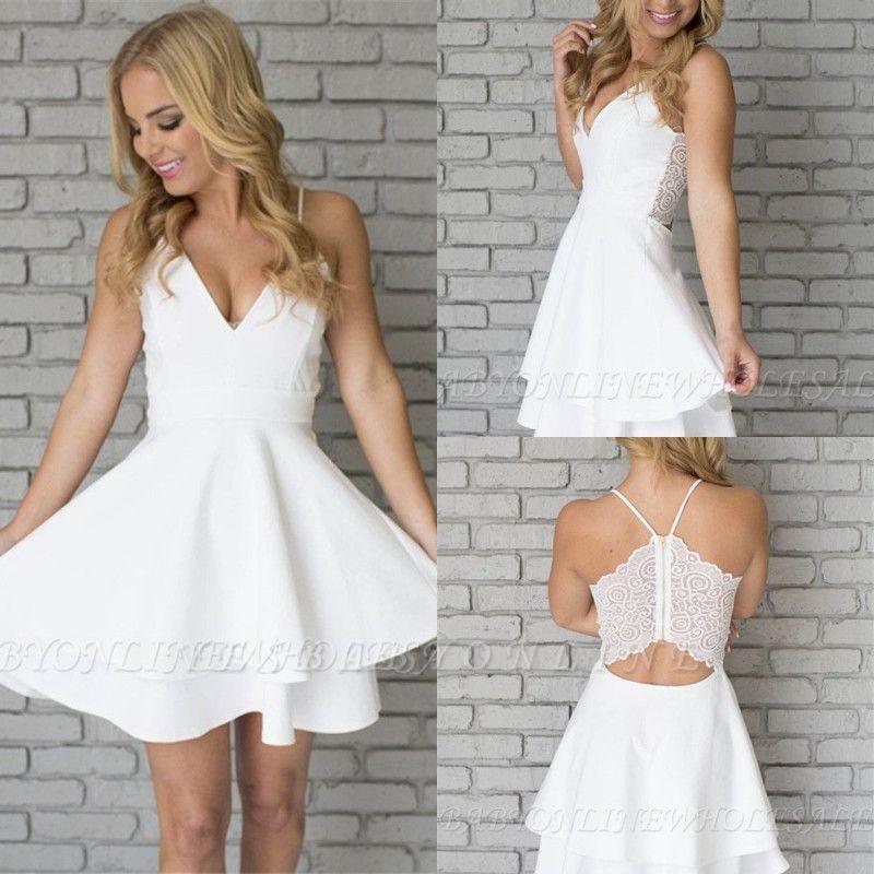 White Homecoming Dresses Spaghettis Straps Layers Skirt A-line Short Prom Dresses