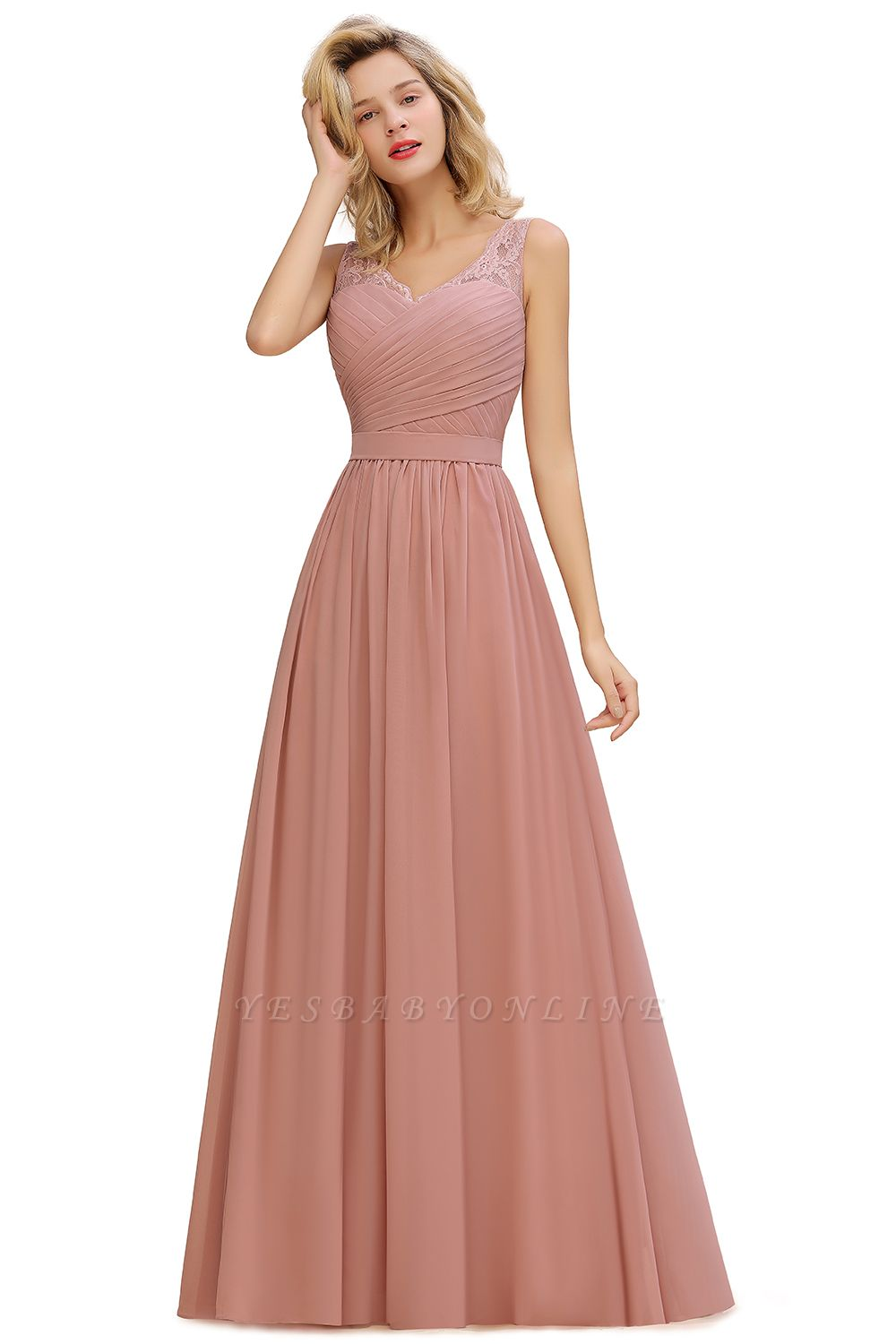 Simple V-neck Sleeveless Long Prom Dresses with soft Pleats