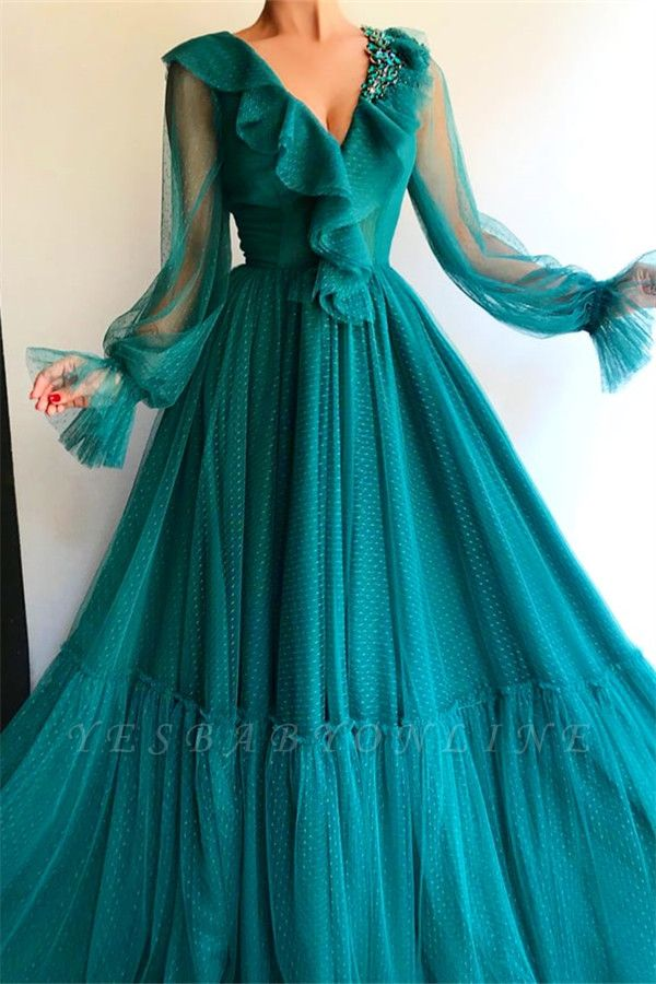 Stylish Long Sleeves V Neck Prom Dress | Affordable Beading Green Long Prom Dress