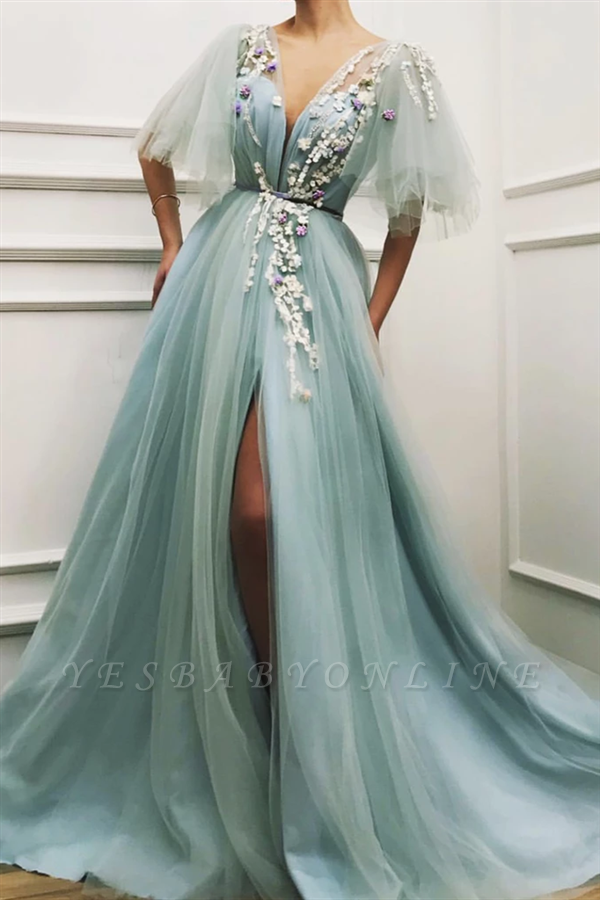 Sexy Deep V Neck Front Slit Prom Dress | Cheap Short Sleeveless Tulle Appliques Long Prom Dress