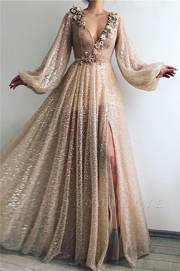 Sparkle Sequins Long Sleeves Prom Dress | Sexy V Neck Front Slit Long Prom Dress
