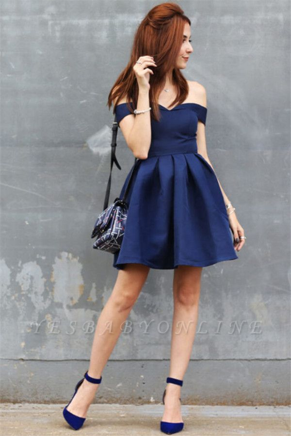 Off-the-shoulder Short Dark-Navy A-line Modest Homecoming Dress