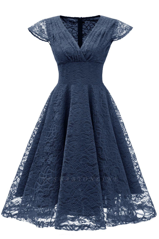 Retro Cap Sleeves V-neck A Line Lace Party Dress
