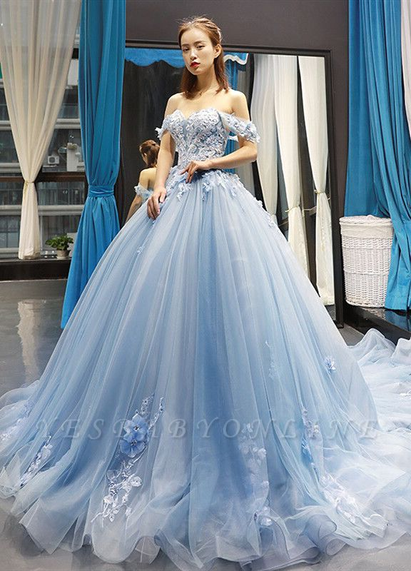 Stylish Ball Gown Off the Shoulder Long Prom Dress | Luxury Sweetheart Lace Appliques Prom Gown