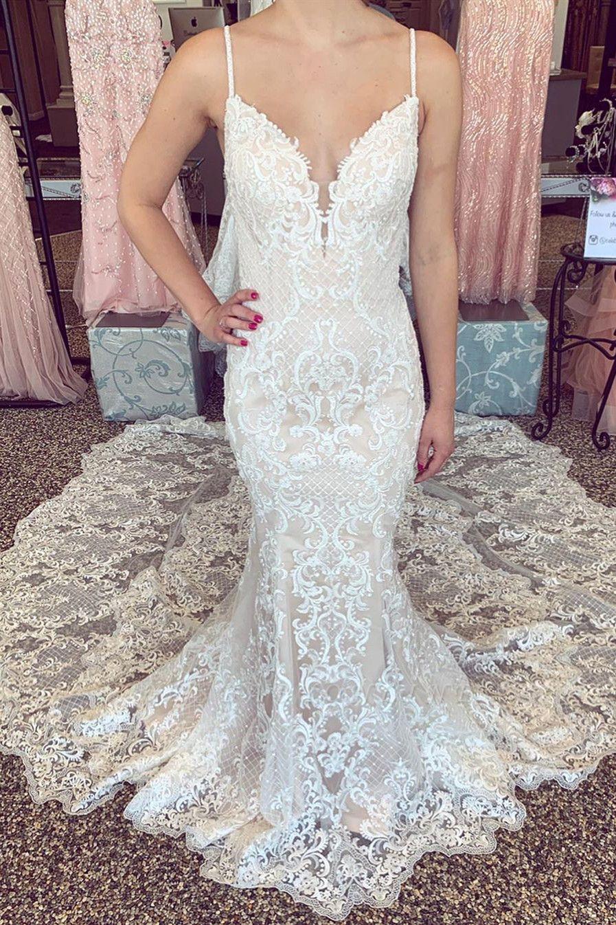 Sexy Lace Mermaid Wedding Dresses | Spaghetti Straps V-neck Lace Bridal Dresses
