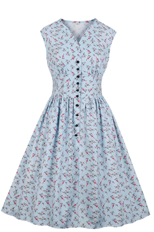 Glorious Jewel Sleeveless A-line Fashion  Dresses | Floral Knee-Length Women's Dress