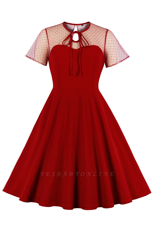 Elegant Round Neck Lace Short Sleeves Fashion Beer Dresses | A-Line Knee-Length Women's Dress