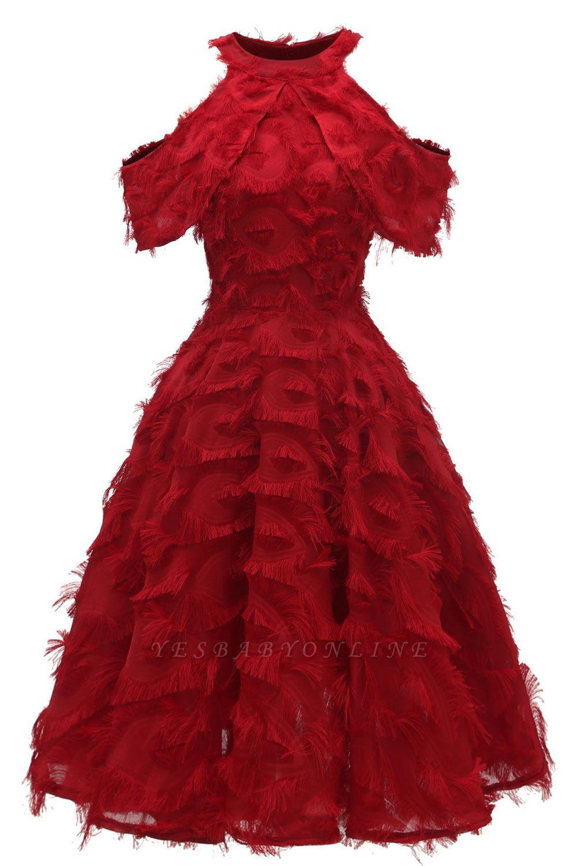 Gorgeous A-line High neck Artifical Feather Vintage Short Dresses