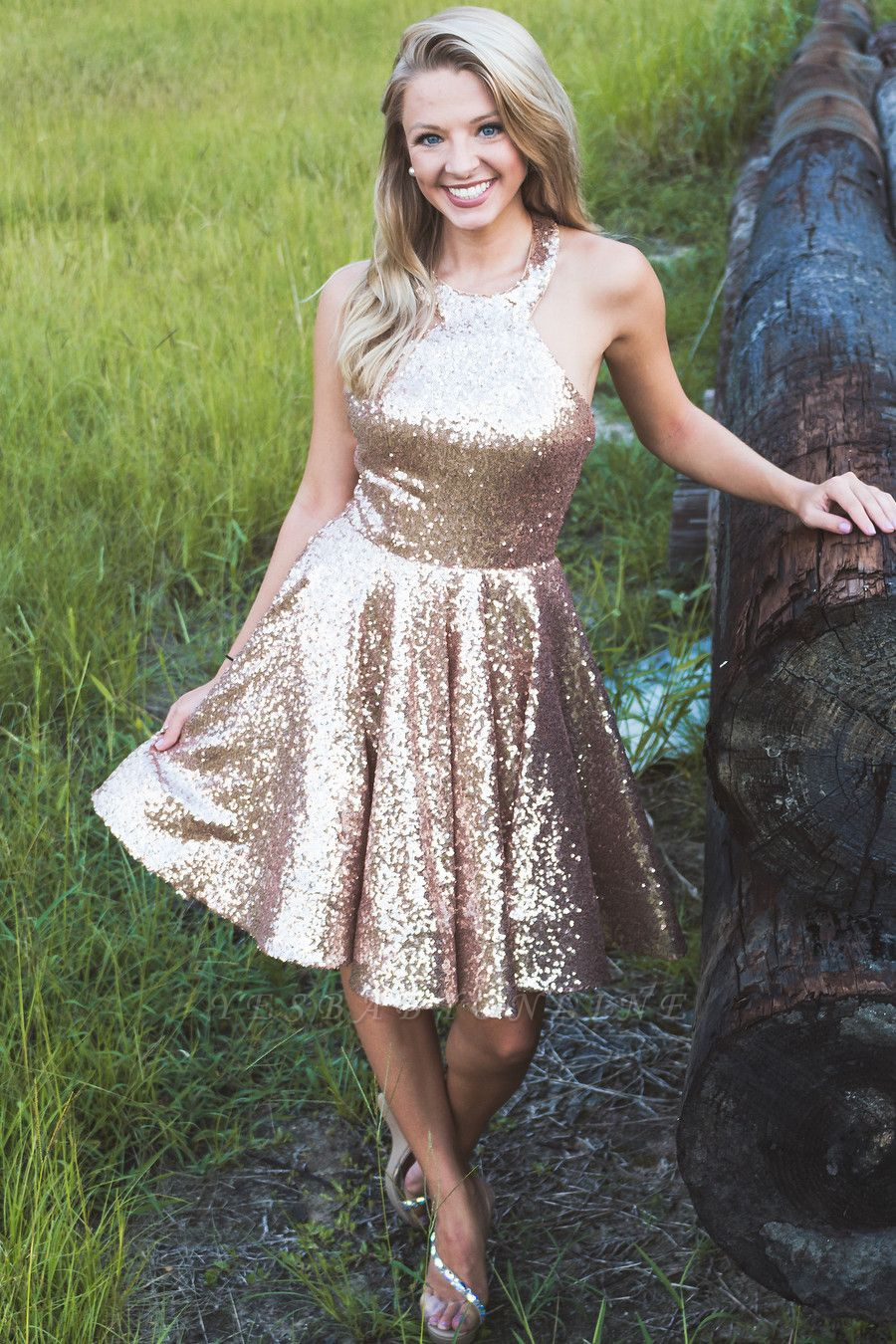 Sparkly A-line Halter Sequins Homecoming Dress | Cheap Stunning Short Dress for Back to School