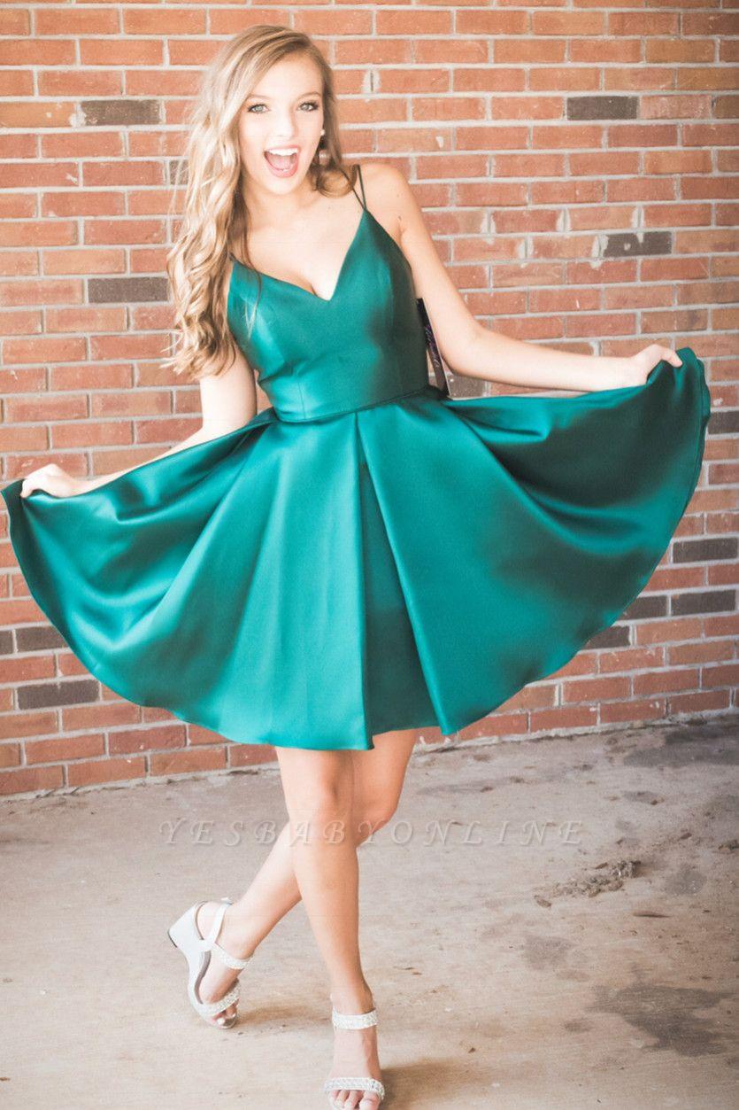 A-line Spaghetti Straps Green Homecoming Dress | Zipper Up Sexy Short Cocktail Dress