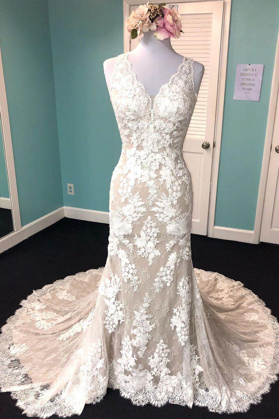 Beautiful Lace Mermaid Cheap Wedding Dresses