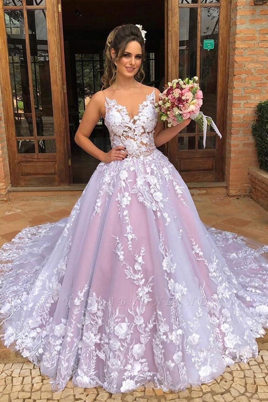 Exquisite Pink Ball Gown Wedding Dresses with Appqliues