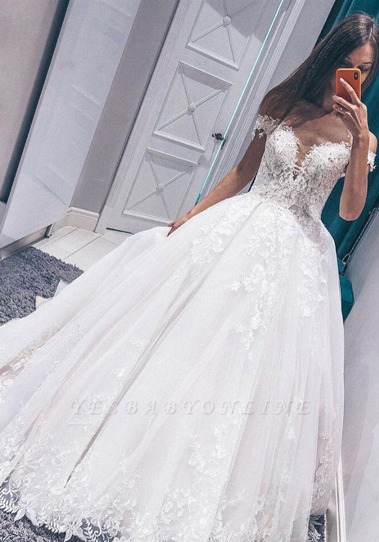 Stunning Off the Shoulder  White Wedding Dress | Fantastic V Neck Lace Long Bridal Dress
