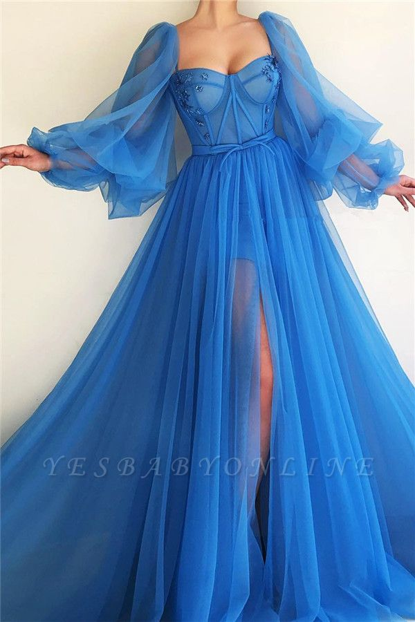 Sexy Long Sleeves Sweetheart See Through Bodice Prom Dress   Cheap Front Slit Blue Long Prom Dress