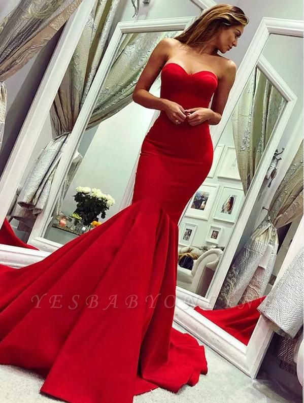 Red sweetheart mermaid prom dress with train