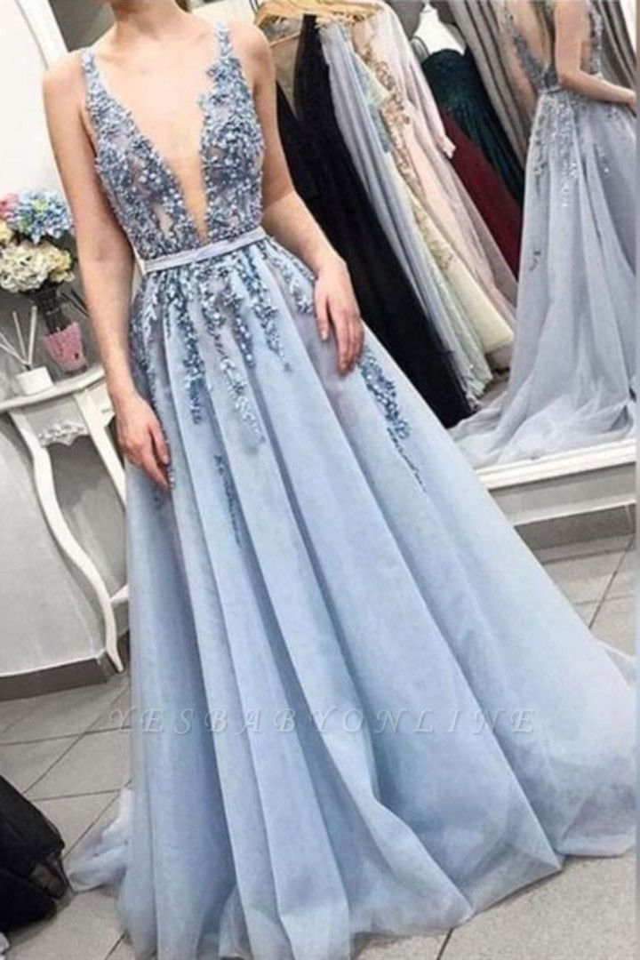 Sexy Straps Deep V Neck Long Prom Dress | Exquisite Lace Beading Blue Prom Gown