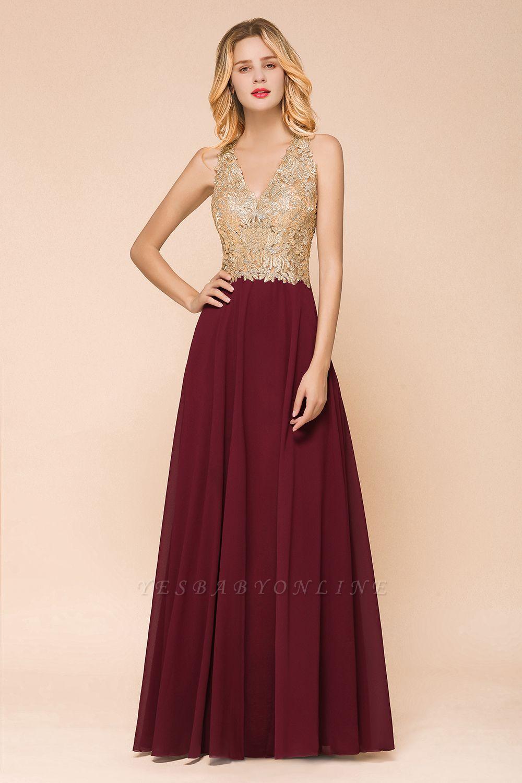 Cheap Chiffon Appliques Long Prom Dress   Affordable Floor Length A-line Evening Dresses