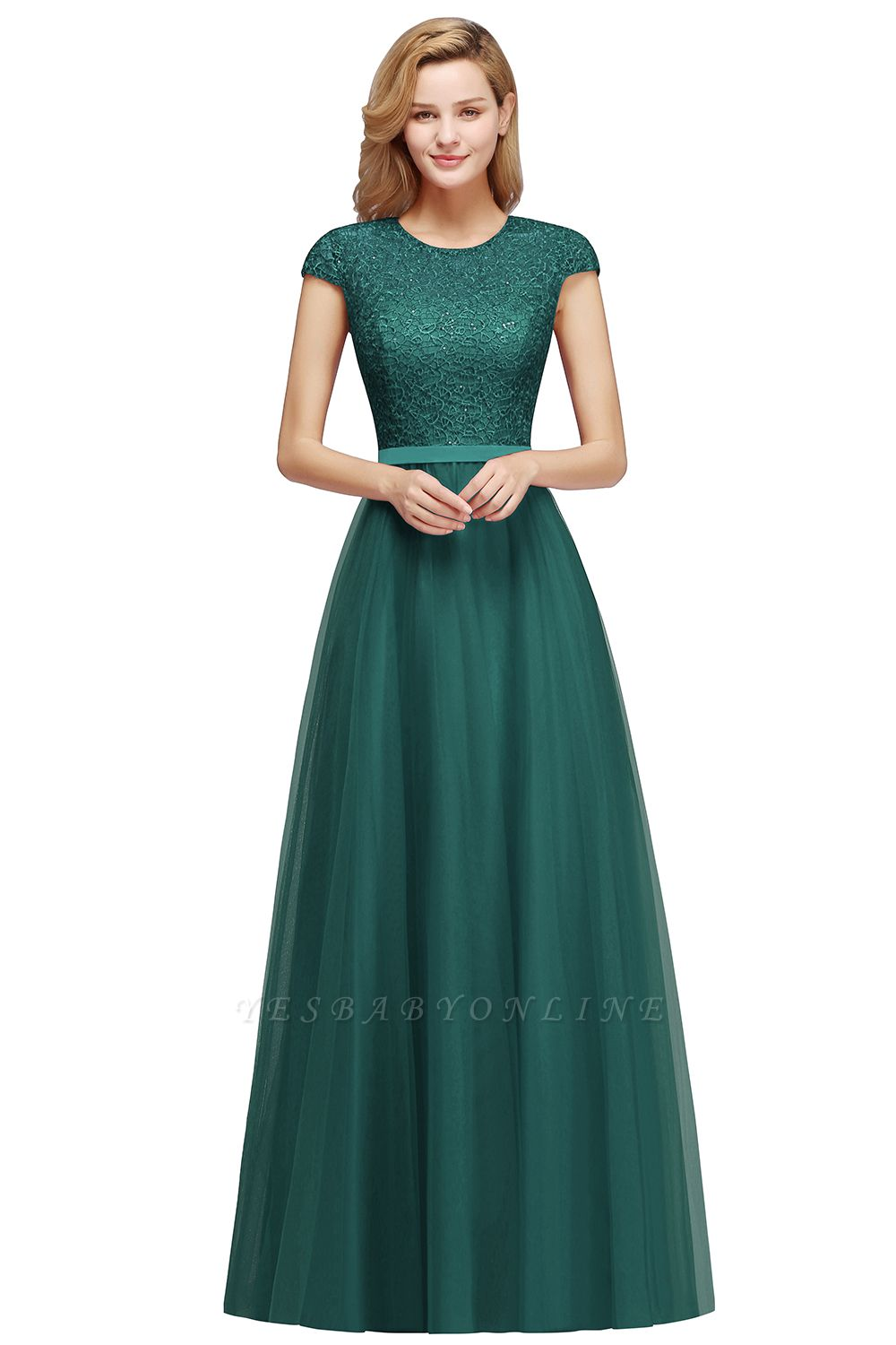 Elegant Cap Sleeves A-line Prom Dresses | Cheap Long Lace Evening Gown