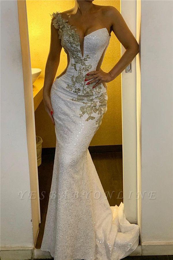 Glittery One Shoulder Strap Backless Mermaid Prom Dresses