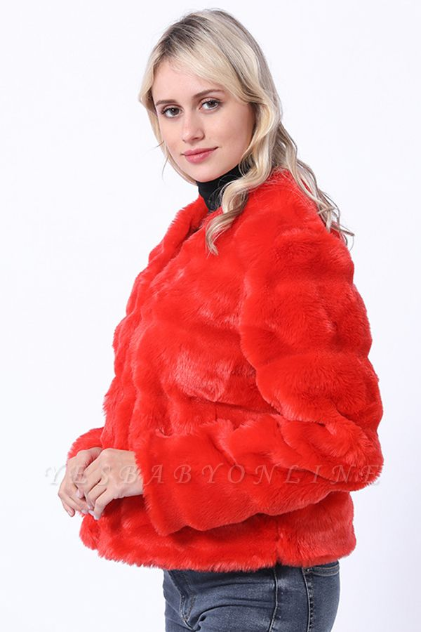 Red Tiered Faux Fur Coat with Full Fur Collar and Cuffs
