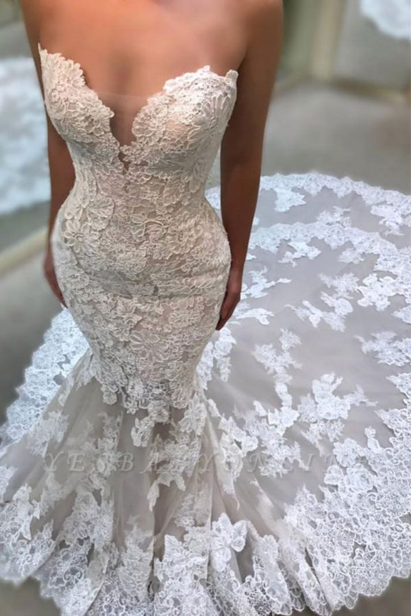 Glamorous Sweetheart Wedding Dresses | Lace Appliques Sleeveless Bridal Gowns