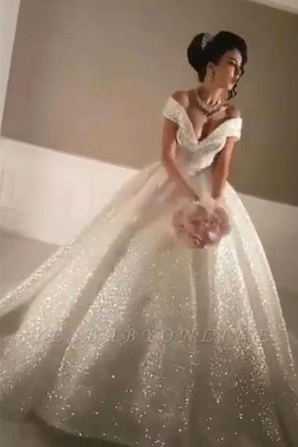 Glittery Ball Gown Wedding Dresses | Off-the-Shoulder Bridal Gowns