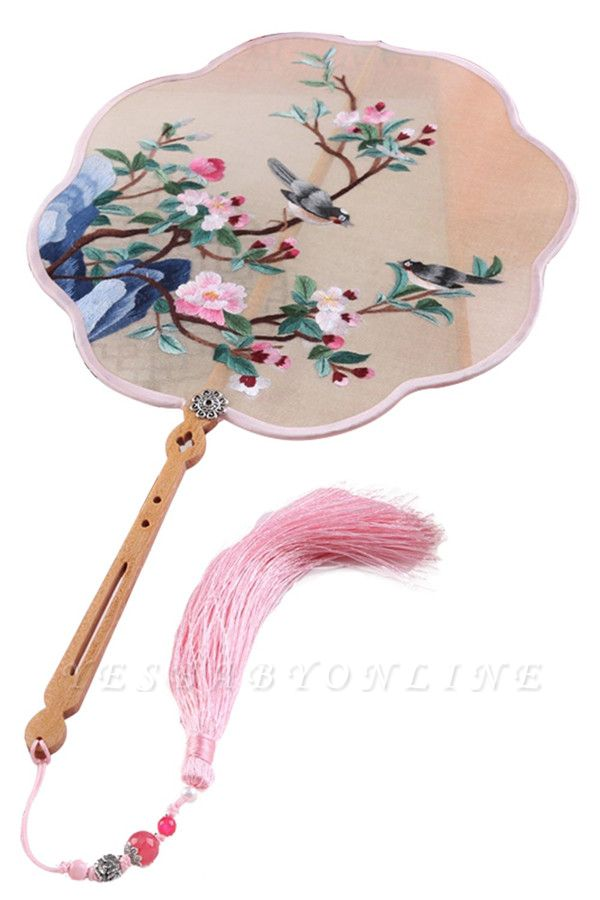 Chinese Traditional Hand-Embroidered Peach Blossom Silk Round Fan