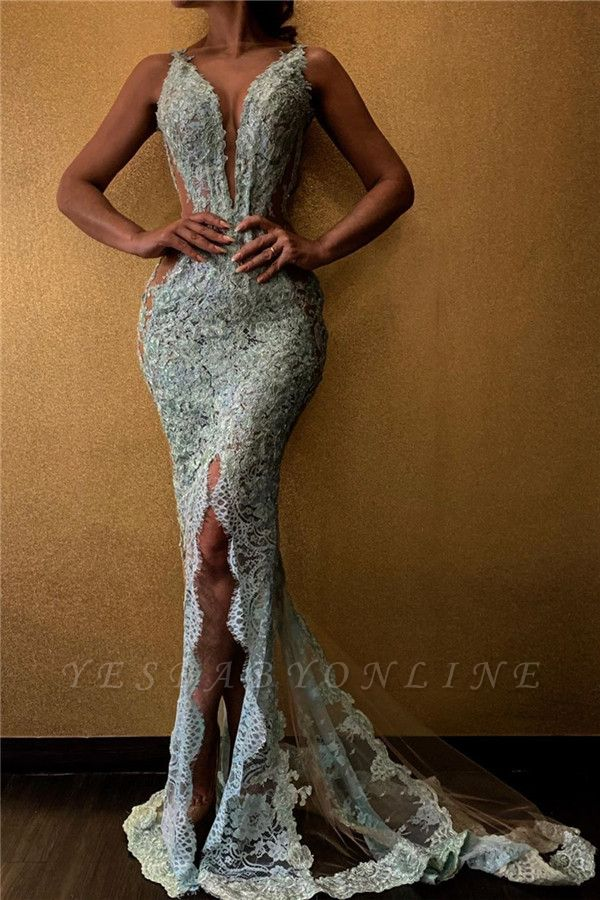 Spaghetti Straps Deep V-neck Front Slit Lace Mermaid Prom Dresses