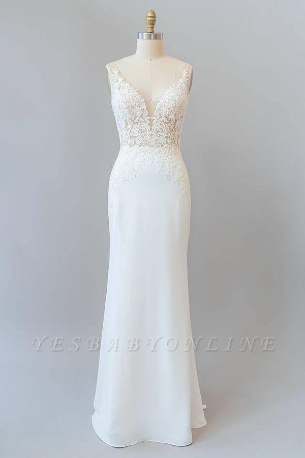 Cheap Floor Length Lace Chiffon Sheath Wedding Gowns