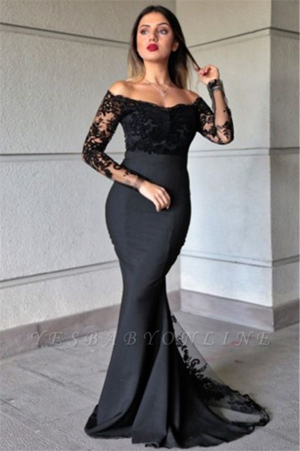 Off the Shoulder  Long Sleeves Lace Mermaid Prom Dresses