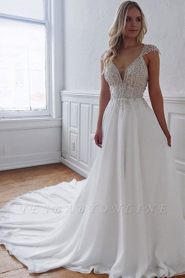 Glamorous Straps Beaded Appliques A-Line Wedding Dresses