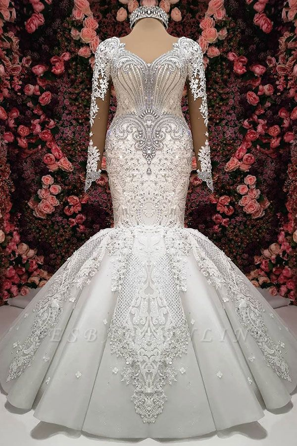 Charming Crystals Mermaid Bridal Gowns  | Long Sleeves Chapel Train Wedding Dresses