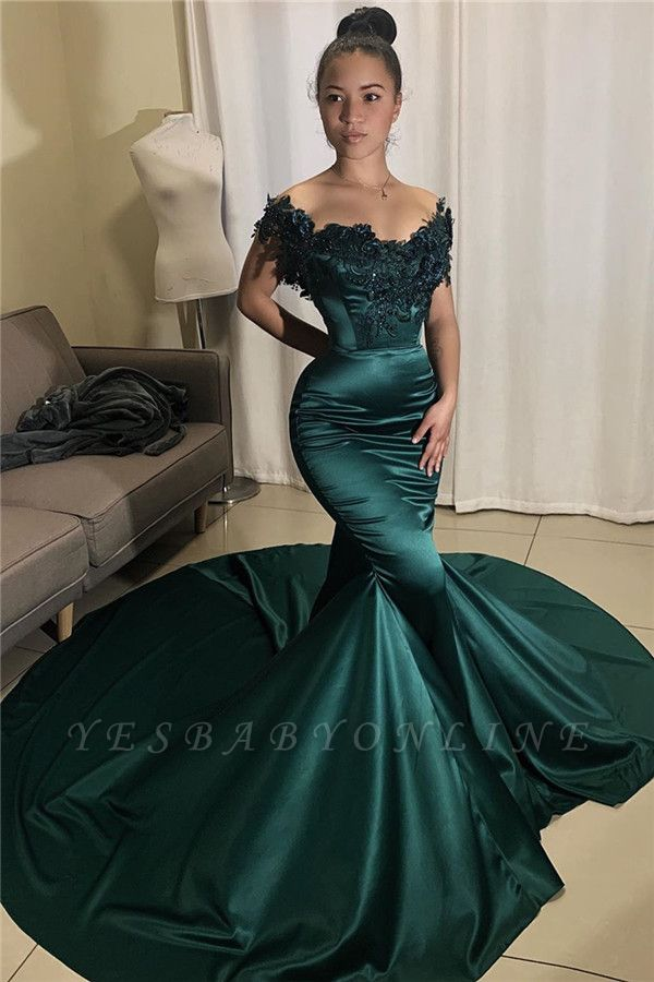 Glamorous Off-the-shoulder Appliques Mermaid Prom Dresses