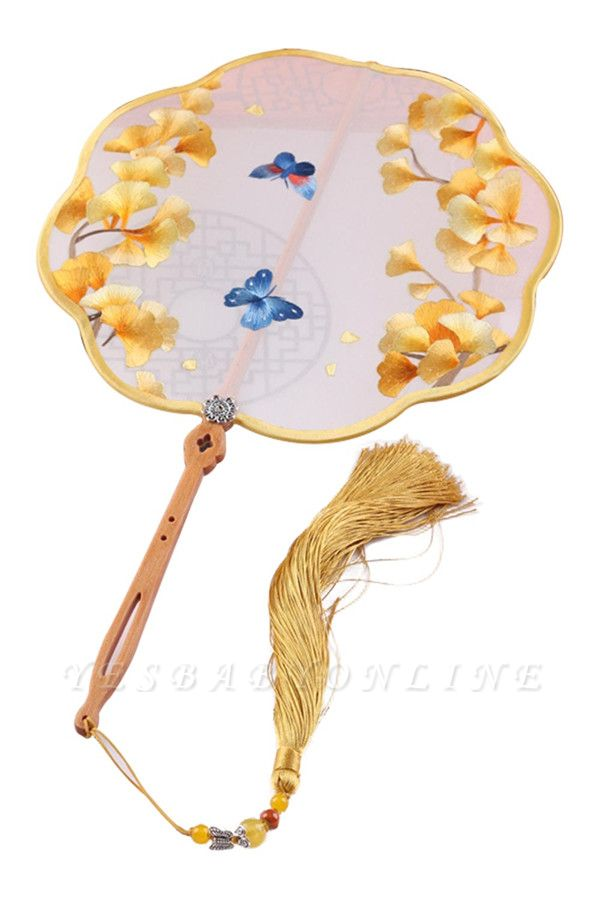 Chinese Traditional Hand-Embroidered Silk Circular Fan With Wave Side