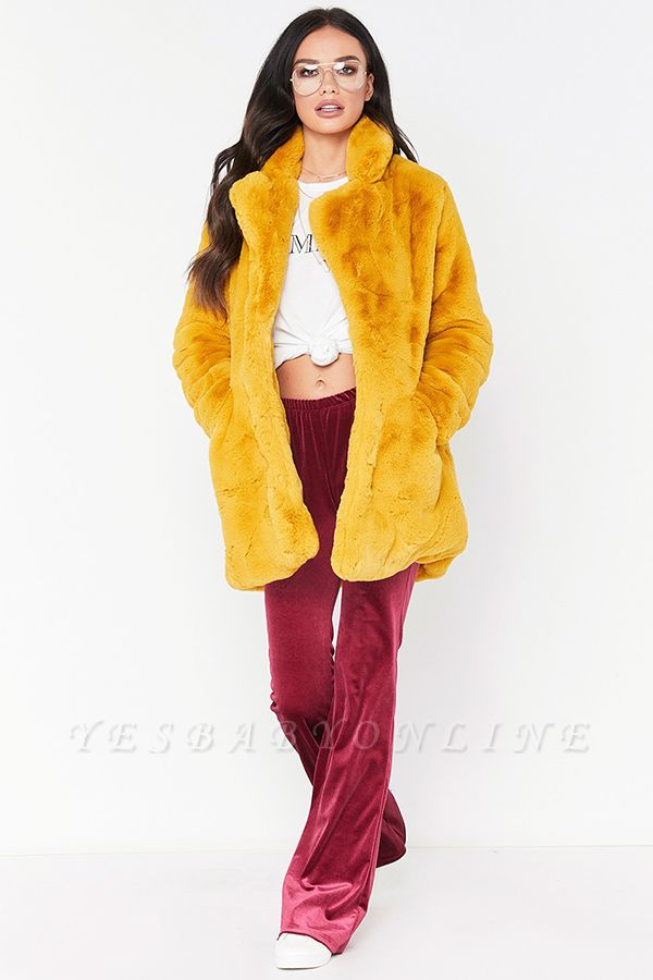 Yellow Stick Up Neckline Medium Long Fuzzy Coat
