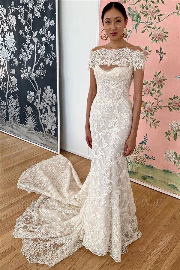 Gorgeous Off the Shoulder Sweep Train Keyhole Mermaid Lace Wedding Dresses