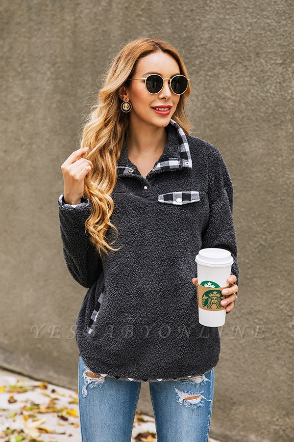 Women's Fall Winter Halp Zip Fuzzy Pullovers