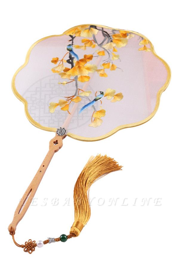 Chinese-Style Hand-Embroidered Silk Circular Fan With Hand Tassels