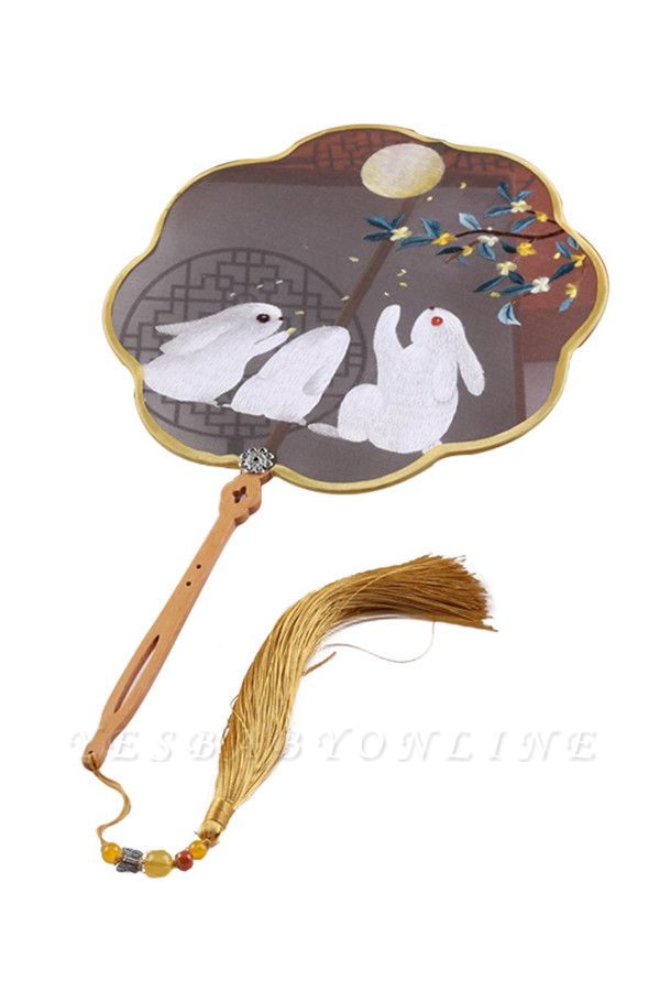 Rabbit Hand-Embroidered Chinese Traditional Cut Silk Circular Fan