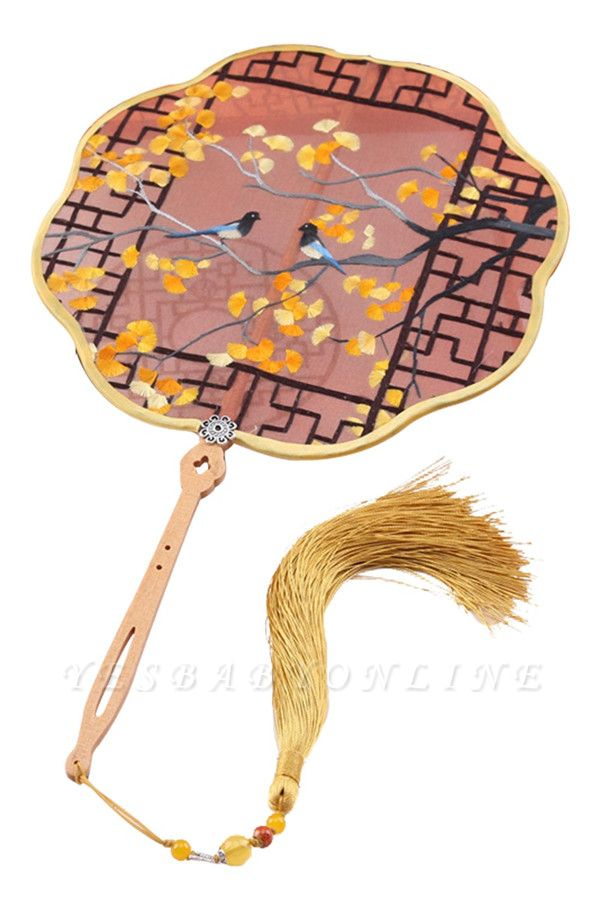 Vintage Chinese Palace Handheld Fan With Tassel Pendant