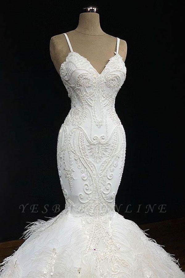 Elegant Spaghetti-Straps Fur Appliques Sexy Mermaid Wedding Dress