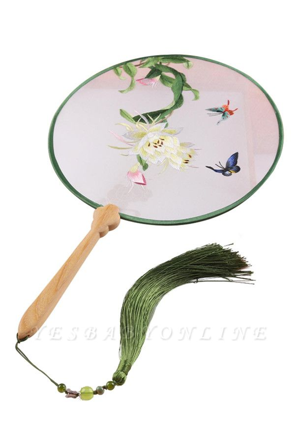 Chinese Double Sided Embroidery Circular Fans With Tassel Pendant
