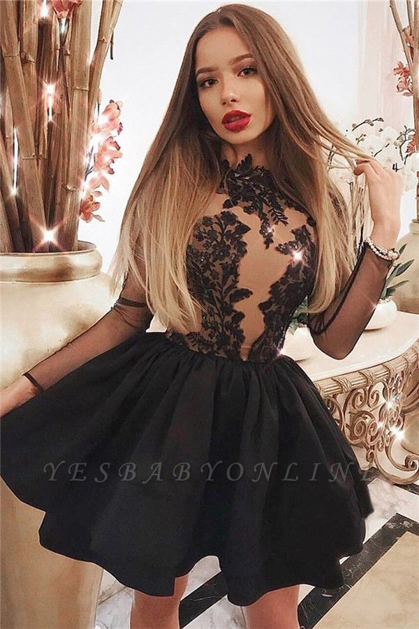 Sexy A-line Lace Mini Homcoming Dresses | Black Lace Cocktail Dresses