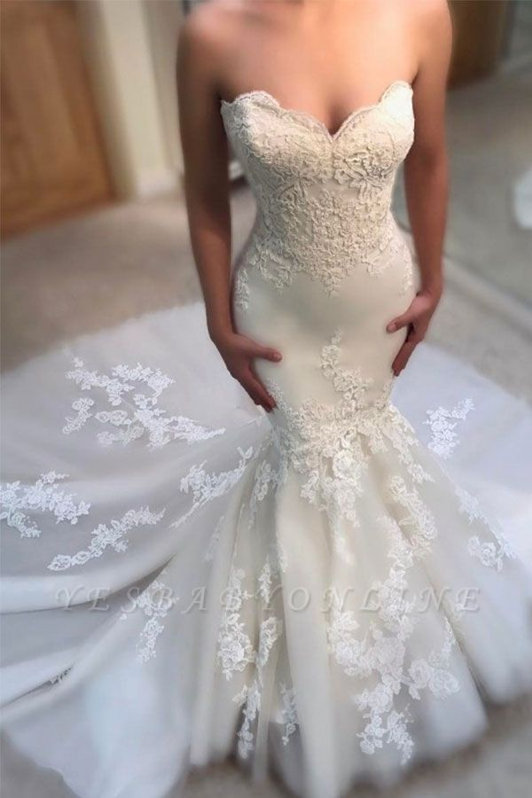 Glamorous Mermaid Wedding Dresses | Sweetheart Appliques Bridal Gowns