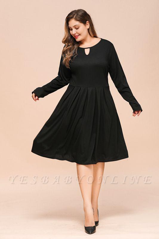 Keyhole Neckline Long Sleeves Plus Size Knee Length Casual Dresses